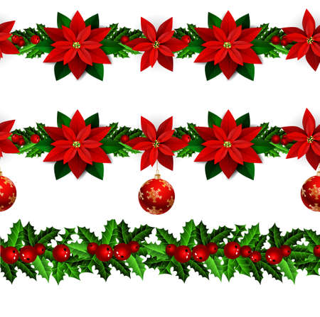 Set of n Seamless borders Bright Fun Christmas Winter Holidays Patterns with poinsettia and green holly and berries