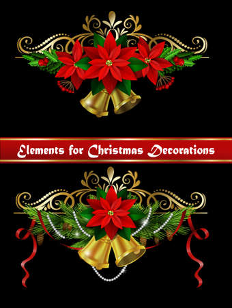 evergreen: Christmas decoration set with evergreen treess holly and pinecone and poinsettia and ribbon isolated