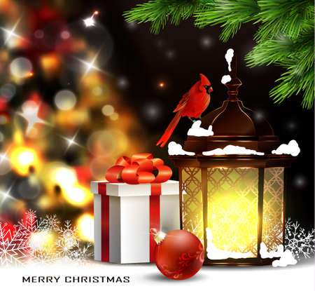 snow cardinal: Christmas tree light background. Vector on dark with snow and standing street light and red bird cardinal and gift