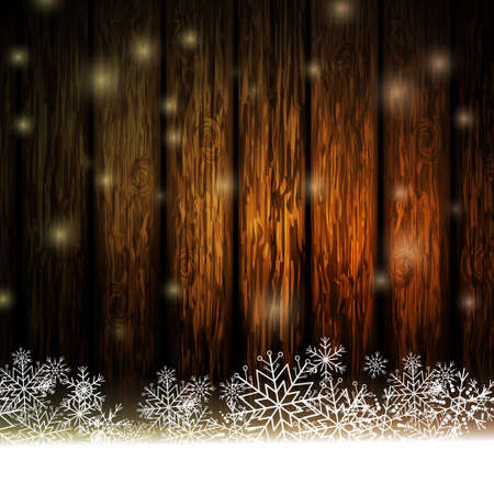 Vintage Christmas wood background with snow and snowflackes for your design