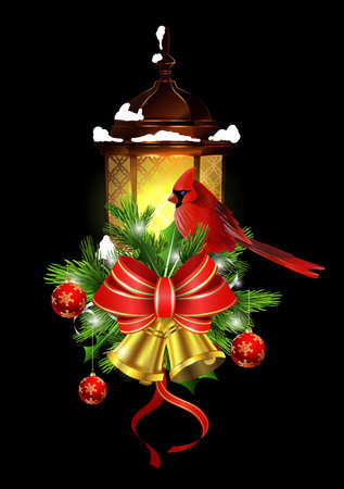 Christmas decoration with street light and evergreen trees and golden bells with red bow and Cardinal bird