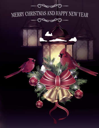 evergreen: Christmas decoration with street lights hanging and evergreen trees and golden bells with red bow and Cardinal bird greeting card Illustration