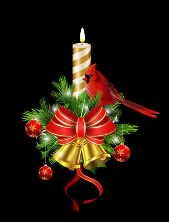 Christmas decoration with candle and evergreen trees and golden bells with red bow and Cardinal bird Illustration