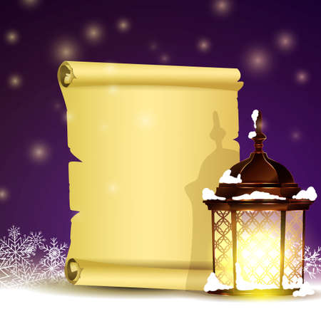 Old Scroll paper on winter background with street light.Vector could be used for your oun writing or wishes for holidays