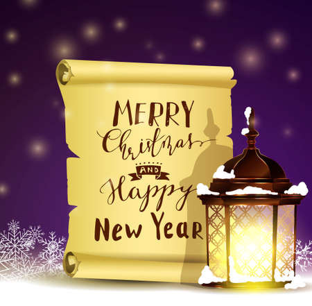 Old Scroll paper on winter background with street light.Vector could be used for your oun writing or wishes for holidays with handwritten letters