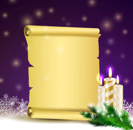 Old Scroll paper on winter background with street branch Christmas tree and candles.Vector could be used for your oun writing or wishes for holidays