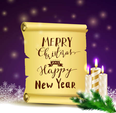 Old Scroll paper on winter background with street branch Christmas tree and candles.Vector could be used for your oun writing or wishes for holidays with handwritten letters
