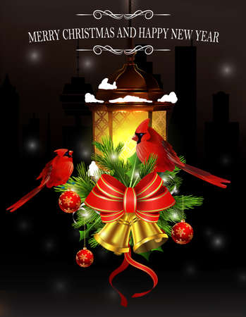 Christmas decoration with street light hanging and evergreen trees and golden bells with red bow and Cardinal bird greeting card on city background