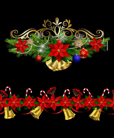 Christmas decoration set with evergreen treess holly and pinecone poinsettia and ribbon isolated and matching seamless border