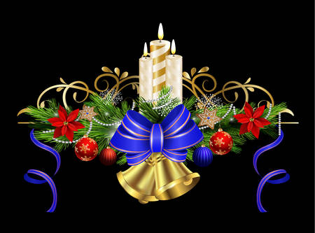 evergreen: Christmas decoration with evergreen treess holly and pinecone and poinsettia and blue bow ribbon bells and candles isolated