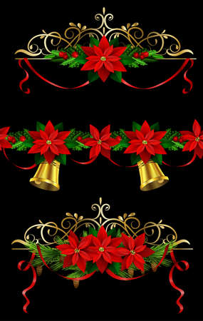 evergreen: Christmas set of decorations with evergreen treess holly and pinecone and poinsettia and ribbon isolated matching seamless border