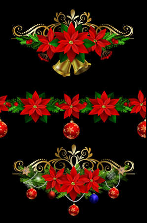 matching: Christmas set of decorations with evergreen treess holly and pinecone and poinsettia ribbon isolated and matching seamless border