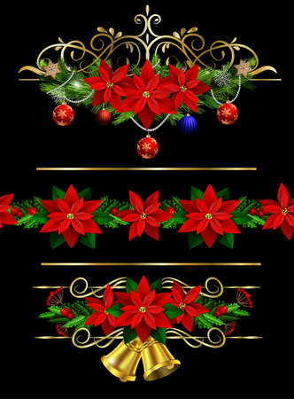 Christmas set of decorations with evergreen treess holly and pinecone and poinsettia and ribbon isolated matching seamless border