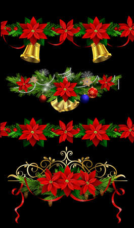 Christmas set of decorations with evergreen treess holly and pinecone and poinsettia ribbon isolated and matching seamless borders 向量圖像