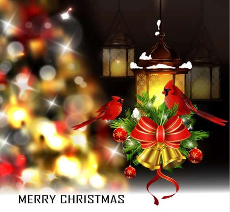 two birds: Christmas tree light background. Vector on dark with snow and hanging two street lights decorated with bells and Cardinal birds