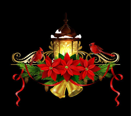 Christmas decoration with evergreen treess holly and pinecone and poinsettia and ribbon bells and street light Cardinal birds isolated