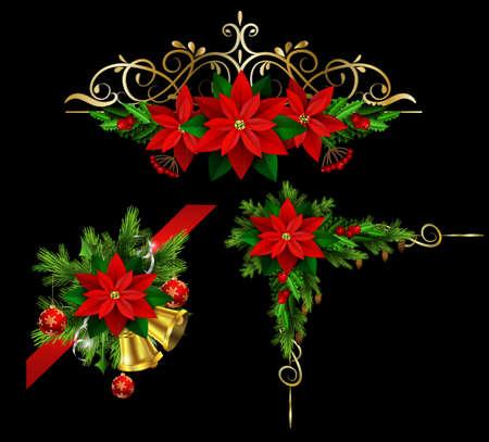 decoración de Navidad fijado con las cintas de las de hoja perenne treess acebo y flor de pascua de oro aislado en negro con remolinos de esquinas Ilustración de vector