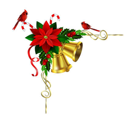Christmas corner decoration with evergreen treess holly and pinecone and poinsettia and golden bells isolated cardinal bird