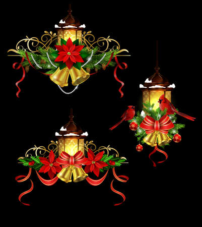 Christmas decoration element set with evergreen treess holly and poinsettia isolated on black with swirls street light bells and Cardinal birds