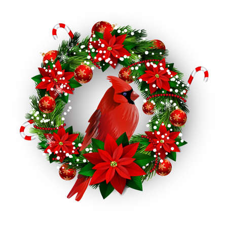 White card with Christmas wreath isolated on white background with poinsettia and cardinal bird