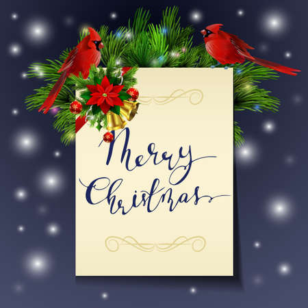 Christmas background with paper ribbon and lights on a snow background with poinsettia and cardinal bird