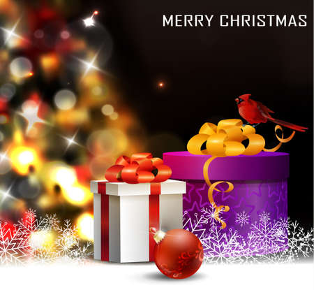 christmas tree light background vector on dark with snow and red bird cardinal and gift