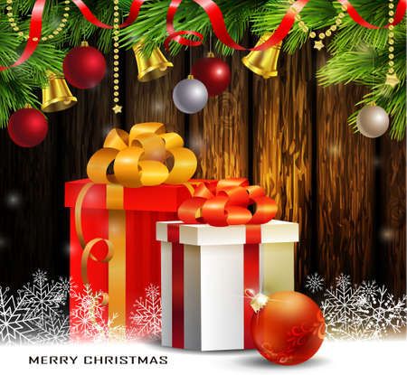 Christmas tree branches background. Vector on wooden wall with snow red ball cardinal and gifts Illustration