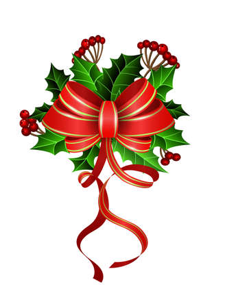 Christmas decoration with bow and holly and rowan berries Illustration
