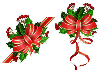Christmas decoration set with bow and holly and rowan berries 矢量图像