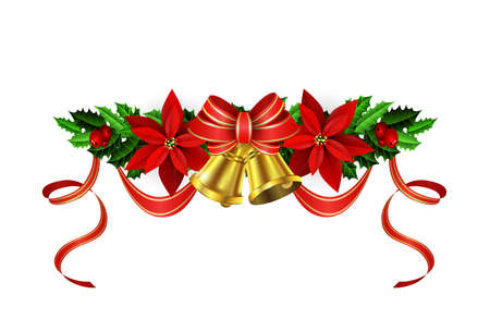 evergreen: Christmas decoration with evergreen treess holly and pinecone and poinsettia and ribbon isolated with bells Illustration