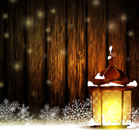 Vintage Christmas wood background with snow and snowflackes standing street light 向量圖像