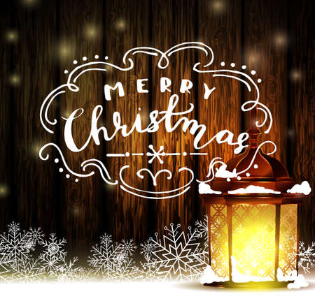 Vintage Christmas wood background with snow and snowflackes standing street light red and handwritten Merry Christmas Vector