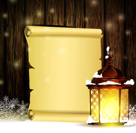 Vintage Christmas wood background with snow and snowflackes standing street light blank scroll paper for your wishes Illustration