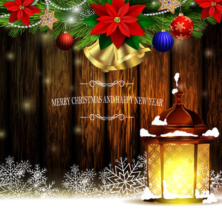 Christmas decoration and greeting card with evergreen trees with poinsettia christmas lights golden bells isolated on wooden wall and street light standing Vector