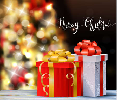 Christmas tree light background. Vector on dark with gift boxes beads and decorations with handwritten Merry Christmas