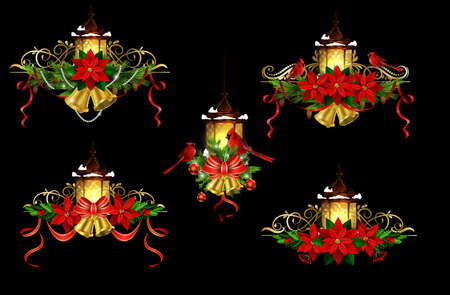Big Christmas decoration element set with evergreen treess holly and poinsettia isolated on black with swirls street light bells and Cardinal birds