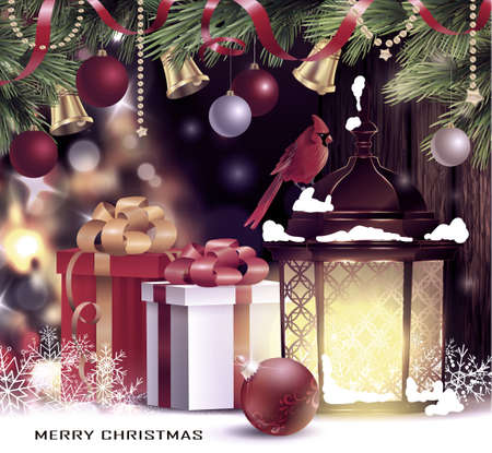 Christmas tree light background. Vector on dark with snow and standing street light and red bird cardinal and gift