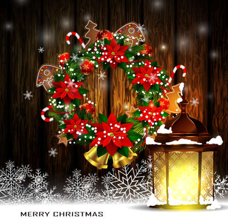 evergreen wreaths: Christmas decoration wreath with street light standing and evergreen trees on wooden background greeting card Vector