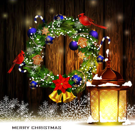 pine wreaths: Christmas decoration wreath with street light standing and evergreen trees with two cardinal birds on wooden background greeting card Vector Illustration