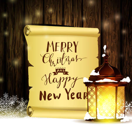 Vintage Christmas wood background with snow and snowflackes standing street light scroll paper with handwritten Merry Christmas and Happy New Year