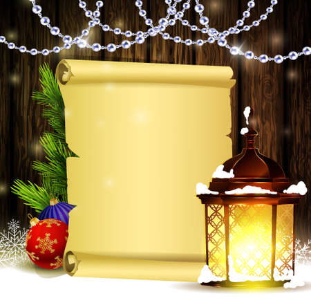 Vintage Christmas wood background with snow and snowflackes standing street light blank scroll paper for your wishes and beads and decorations