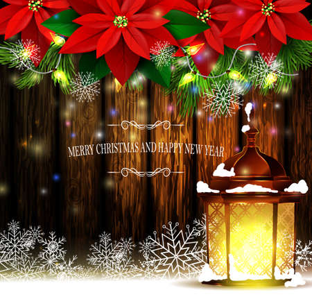 Christmas decoration and greeting card with evergreen trees with poinsettia christmas lights isolated on wooden wall and street light standing Vector