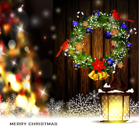 evergreen wreaths: Christmas decoration wreath with street light standing and evergreen trees with two cardinal birds on wooden background and Christmas tree greeting card Vector