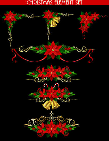 Christmas decoration elements set with evergreen treess holly golden bels and poinsettia isolated on black with swirls for corners Illustration