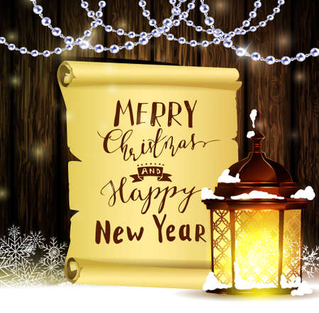 Vintage Christmas wood background with snow and snowflackes standing street light scroll and beads with handwritten Merry Christmas and Happy New Year