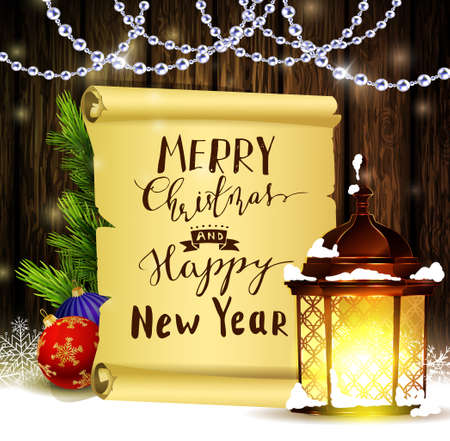 Vintage Christmas wood background with snow and snowflackes standing street light scroll paper and beads and decorations with handwritten Merry Christmas and Happy New Year