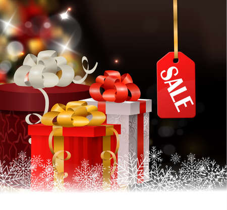 boxing day: Christmas tree light background. Vector on dark with gift boxescand sale tag. Could be used for bozing day