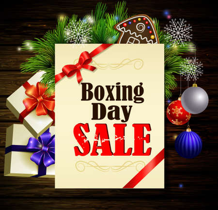 boxing day: Boxing day background with paper ribbon and gifts on a dark wood wall and decorations Illustration