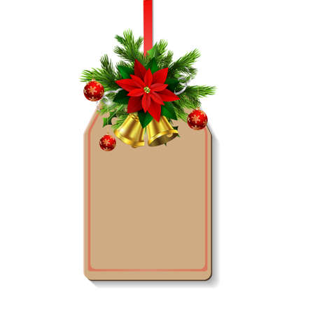Christmas decoration with poinsettia and balls and christmas tree brunches and two golden bells on tag with free space Illustration