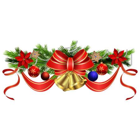 moños de navidad: Decoración de la Navidad con el árbol de hoja perenne t treess acebo y piñas y un arco aislado Vectores